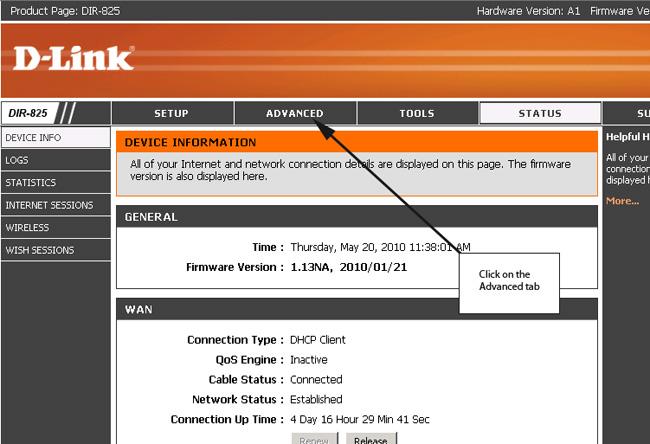 router configuration login